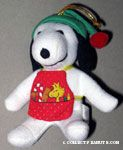 Snoopy wearing stocking cap and tool apron Plush Ornament