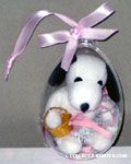 Snoopy and confetti in clear plastic egg Easter Ornament
