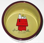 Snoopy & Woodstock on doghouse ceramic dog dish
