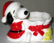 Santa Snoopy holding Sack Planter