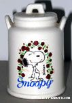 Snoopy standing in circle of roses Planter