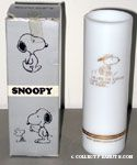 Snoopy running 'I'm late for Exercise Class' Milk-glass Vase