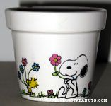 Snoopy & Woodstock holding flowers Flower Pot