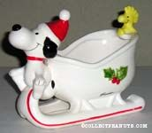 Snoopy and Woodstock Sleigh Planter