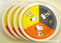Snoopy & Woodstock scenes Set of 4 Melamine Plate
