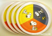 Snoopy & Woodstock scenes Set of 4 Melamine Plate