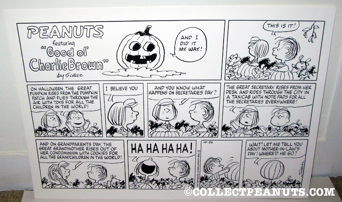 comic strip peanuts lucy pumpkin
