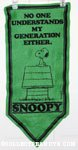 Snoopy on Doghouse 'No One understands my generation either' Pennant