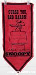 Snoopy Flying Ace on Doghouse 'Curse You, Red Baron' Pennant