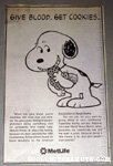 Snoopy eating cookie Metlife Newspaper Ad
