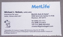 Snoopy Metlife Business Card