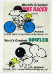 Snoopy World's Greatest Bike Racer and Bowler Glass Decal
