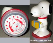 Snoopy holding gift package with Snoopy front portrait Rubber Stamp Figure