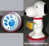 Snoopy holding gift package with paw print Rubber Stamp Figure