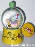 Charlie Brown with Snoopy in Mailbox 'You take the Cake' Snowglobe