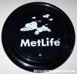 Snoopy running with frisbee Metlife Frisbee