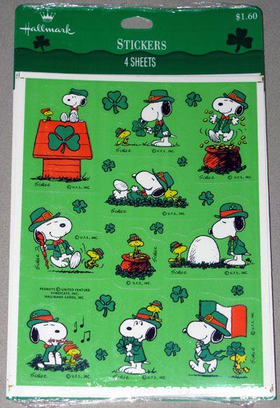peanuts hallmark st patrick s day stickers collectpeanuts com