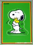 Snoopy hugging Woodstock Sticker Postcard