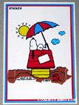 Snoopy on doghouse at beach Sticker Postcard