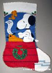 Snoopy typing letter to Santa with Woodstock Felt Stocking