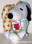 Snoopy wearing pajamas holding pillow Plush