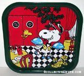 Waiter Snoopy rollerskating through restaurant Metal Tray
