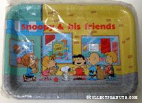 Peanuts Gang standing outside shops with bags of groceries Tray