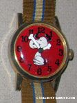 Snoopy dancing on Red Face with striped ribbon band
