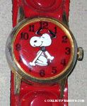Snoopy dancing on Red Face with red snap band