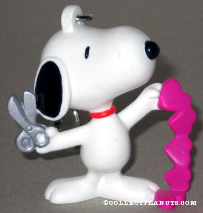Snoopy With Scissors Cutting Pink Hearts Valentineu0027s Keychain