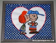 Peppermint Patty kissing Charlie Brown Crewel Stitchery Picture