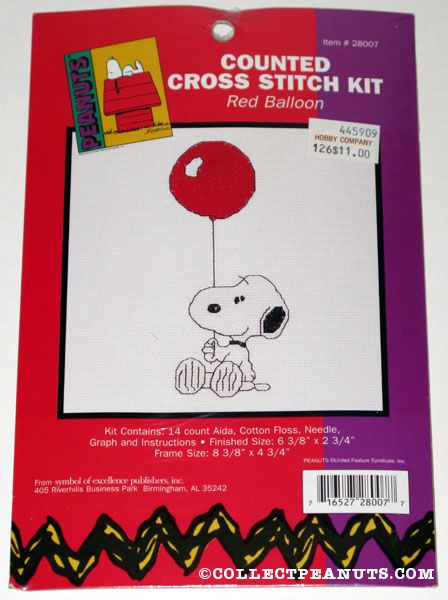 snoopy cross stitch red balloon