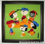 Peanuts Gang playing Baseball Finished Needlepoint Picture