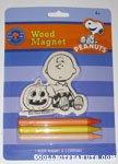 Charlie Brown leaning on Pumpkin Wood Magnet Kit