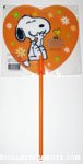 Snoopy laughing on orange heart Fan