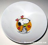 Snoopy hugging Woodstock with Hearts Melamine Bowl