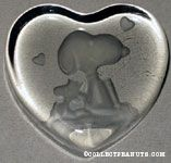 Snoopy & Woodstock sitting heart-shaped glass Paperweight