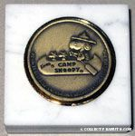 Camp Snoopy Bronze medallion in marble base Paperweight