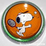 Snoopy playing tennis glass dome Paperweight