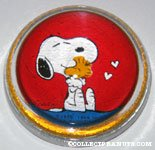 Snoopy hugging Woodstock glass dome Paperweight