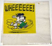 Snoopy Dancing with Lucy 'WHEEEEE!' Cocktail Napkin