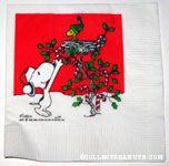 Snoopy decorating Woodstock's Tree Cocktail Napkin