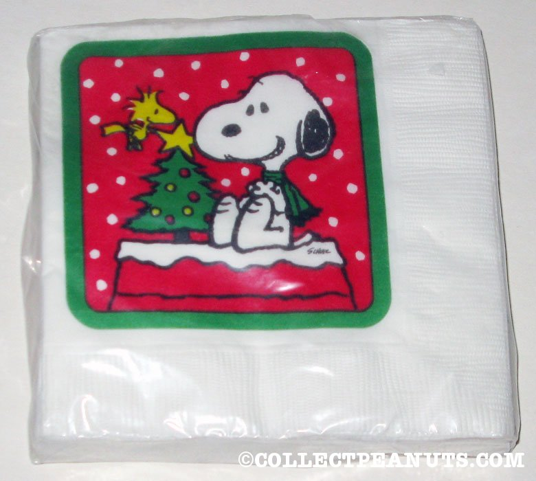 Snoopy & Woodstock on Doghouse with Christmas Tree Napkins