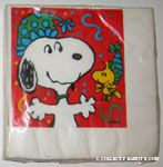Snoopy and Woodstock wearing party hats napkins
