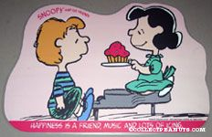 Schroeder & Lucy 'Happiness is a friend, music and lots of icing' Placemat
