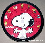 Snoopy with outstretched arms and Woodstock around dial Thermometer