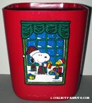 Snoopy & Woodstock with Christmas gifts in front of window Wastebasket