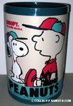 Snoopy and Charlie Brown in baseball gear Wastebasket