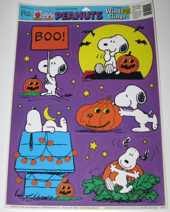 snoopy with pumpkins halloween window cling sheet