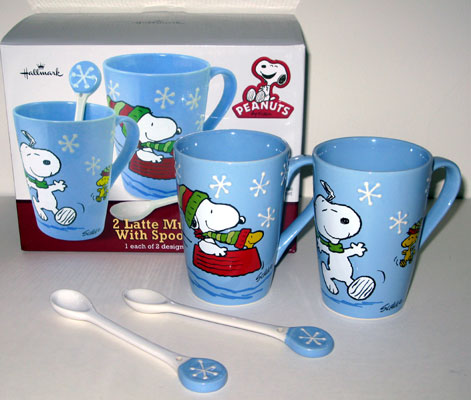 Snoopy Woodstock Winter Latte Mugs Set With Spoons